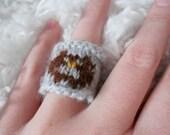 CUSTOM LISTING: Handknit FingeRing Owl for Mumof2BeautGirls