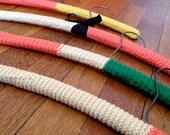 Crocheted Wooden Hangers - Yellow, Coral, Cream & Green Split (set of 4)