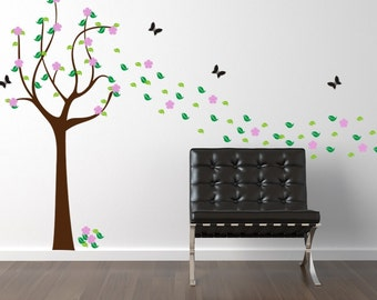 Vinyl Wall Decal Sticker Art Spring Tree with Flowers Leaves Butterflies