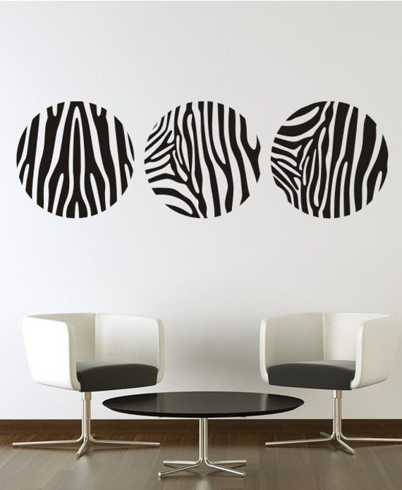 Zebra Stripes Wall Decor : Items similar to zebra stripes vinyl decal wall art