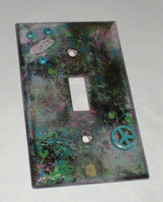 Peace Toggle Decorative Switch Plate Cover With One, Two, Three, or Four Openings