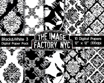 Black & White Vintage Wallpaper and Damask Inspired Digital Paper Pack Collection-Download and Print (TIFNYC-BWPP-3)