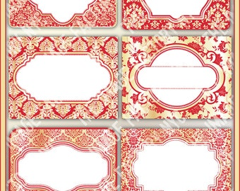 Red and Gold Damask Printable Labels & Tags, for gift tags, place cards, recipe cards, labeling, etc (TIFNYC-DRGLBL-1) Download and Print