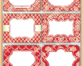 Red and Gold Damask Printable Labels & Tags, for gift tags, place cards, recipe cards, labeling, etc (TIFNYC-DRGLBL-2) Download and Print
