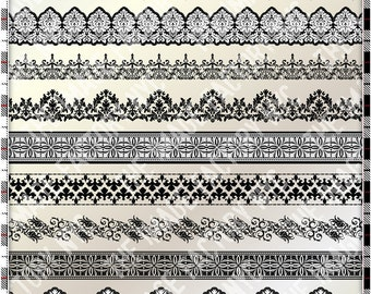 Black and White Damask Horizontal Borders Collection (TIFNYC-BWDB-1)-Download and Print