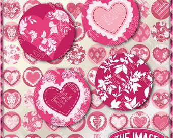 Valentines Digital Collage Sheet 1 x 1 inch Circles for cupcake toppers, jewelry,magnets,etc. Download&Print (TIFNYC-VC1-1)