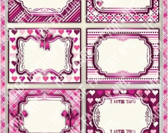 Valentines Printable Labels & Tags, for gift tags, place cards, recipe cards, labeling, etc (TIFNYC-VDLBL-2) Download and Print