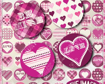 Valentines Digital Collage Sheet 1 x 1 inch Circles for cupcake toppers, jewelry,magnets,etc. Download&Print (TIFNYC-VC1-2)
