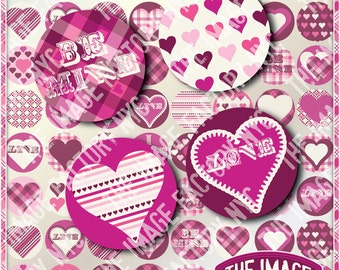 Valentines Digital Collage Sheet 2x2 inch Circles for cupcake toppers, jewelry,magnets,etc. Download&Print (TIFNYC-VC2-2)