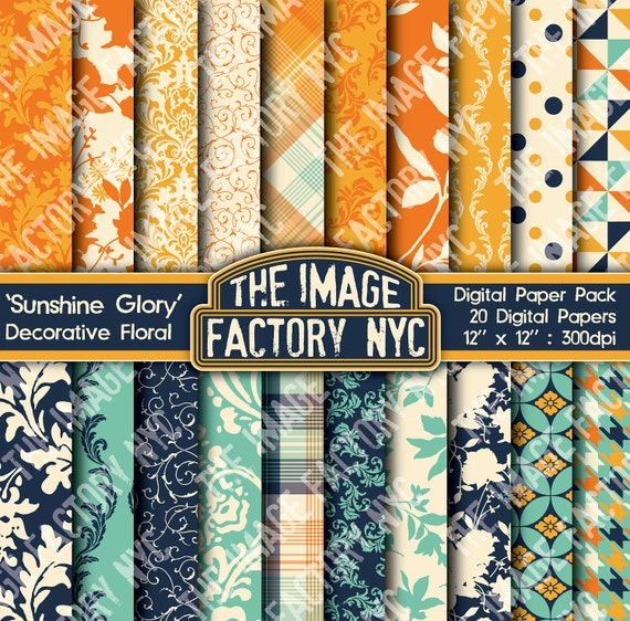 Sunshine Glory Decorative Floral Digital Mega Paper Pack Collection (TIFNYC-SFPP-5) for all paper crafts-Download & Print