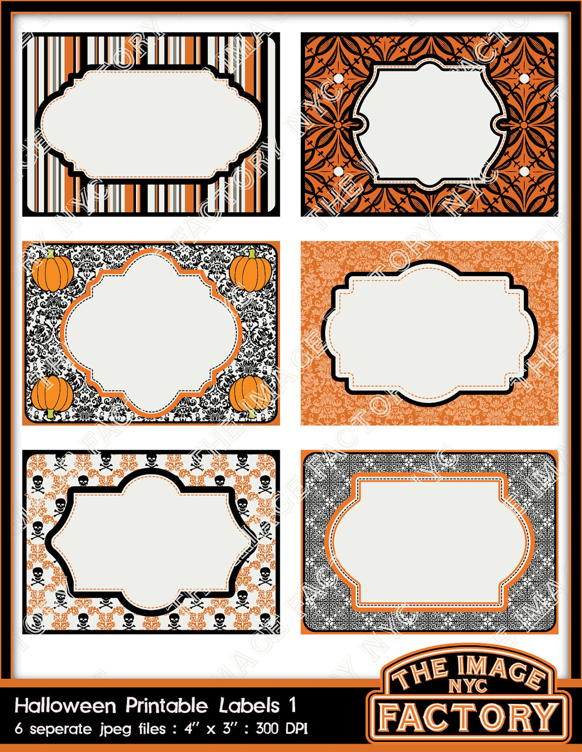 Halloween printable labels tags for gift tags place cards zoom negle Image collections