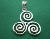 Silver Celtic Triple Spiral Triskele Necklace Pendant - Triskele Jewelry - Celtic Jewelry - Ancient Symbol - Pagan, Goddess, Wiccan Necklace