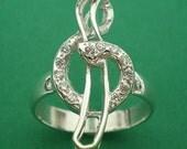 G clef Treble Clef Silver Charm Ring