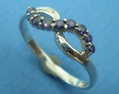 Amethyst Purple CZs Silver Infinity Ring - Bridesmaids, Wedding, Christmas, Thanksgiving & New Year Gift
