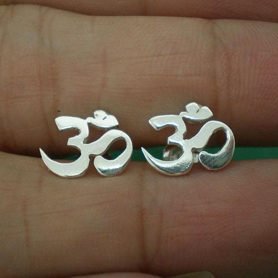 OM Chakra Silver Ear Stud - 10mm X 11mm