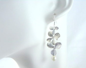 Silver Orchid Cascade and Pearl Earrings