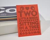 Two Little Birds - Pen drawn art card