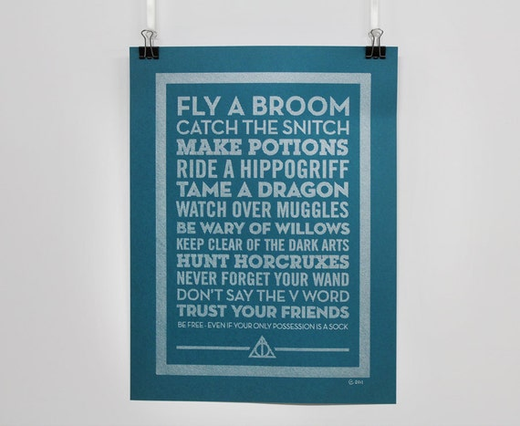 Tame a Dragon - Pen Drawn Poster - Harry Potter inspired
