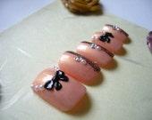Japanese Kawaii Petit False Nail Samon Pink Ribbon