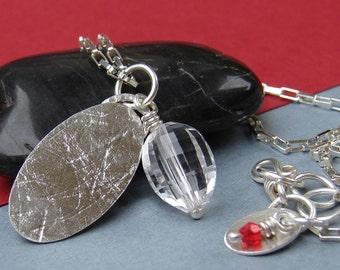 Rock Quartz Sterling Silver Necklace, Gemstone Dog Tag Necklace, Sterling Silver Oval Textured Beaded Pendant Necklace