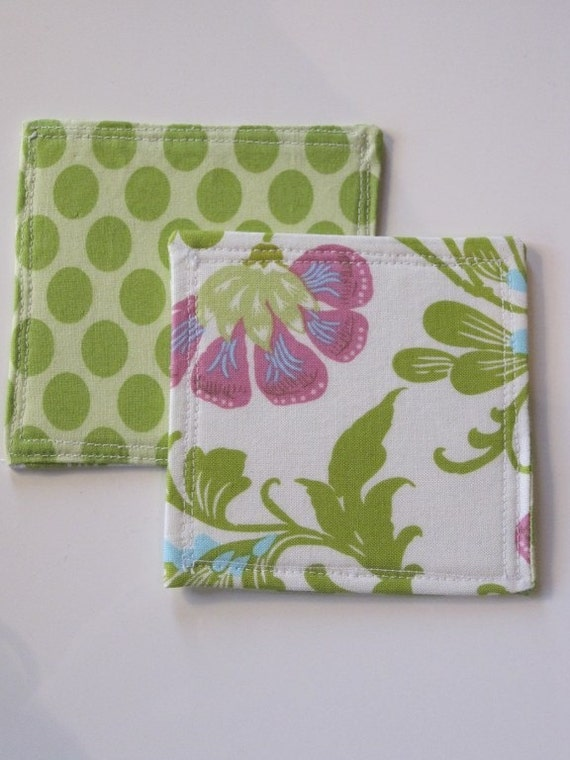 SALE Fabric reversible Coasters Set of 4 Amy Butler designer fabric, Mothers Day gift, Picnic, Spring Summer table