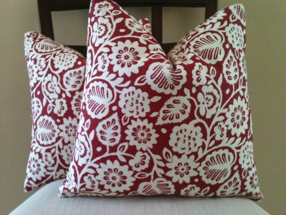 SALE -  Pair of 16 x 16 Cherry Red  and Ivory Floral Print pillow cover