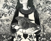 St Melangell / safe in her arms Fine Art Print of Original Scraperboard