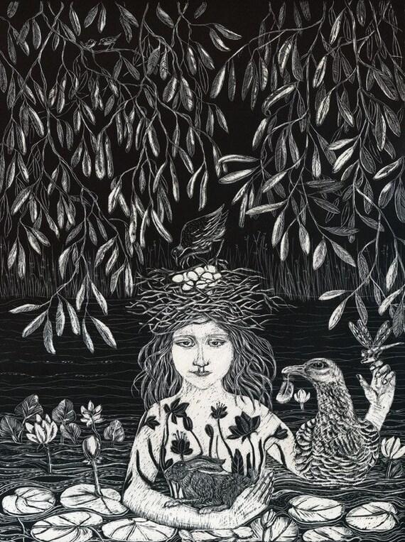 Waternymph Fine Art Print of Original Scraperboard.