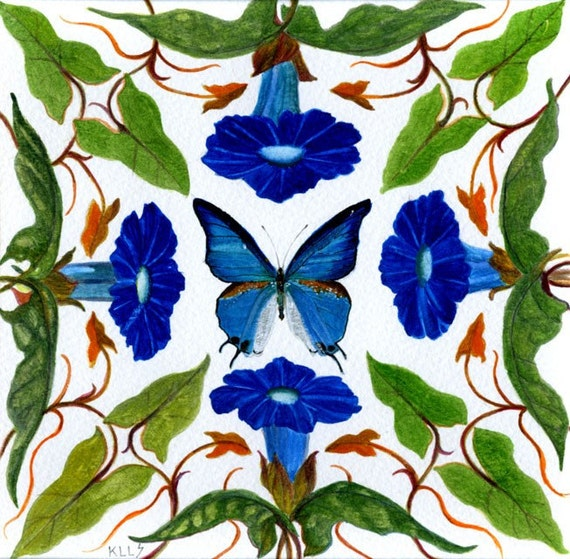 Mexican Blue Butterfly Art Greetings card of Morning Glory Vine Blank