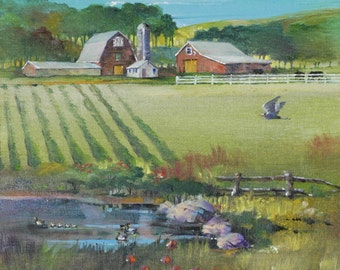"Delaware Farm  - Original Oil Painting (16"" x 16"")"