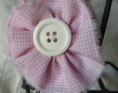 Gingham Pink Fabric & Ivory Button Clip-On