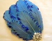 Something Blue Crystal Feather Fascinator Bridal Hair Clip