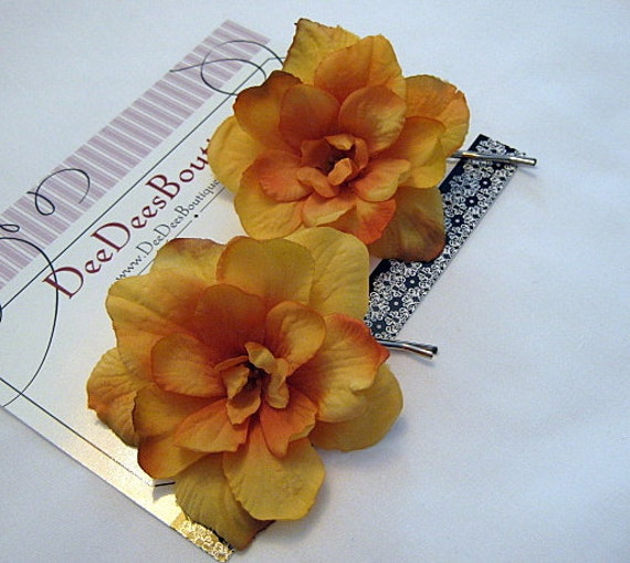 Dainty Rustic Golden Yellow Flower Hair Pins, Set of 2