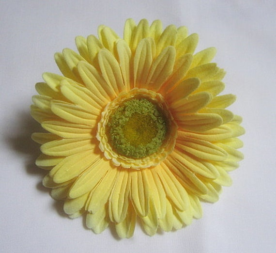 Large Yellow Gerber Daisy Velvet Silk Flower Hair Clip, Real to the Touch, ON SALE