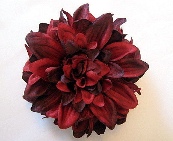 Crimson Red Dahlia Silk Flower Hair Clip