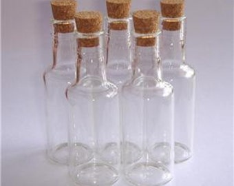 "Lot 5 16ml Clear Glass Mini Bottles 2.75"" Vials with Corks Miniature"