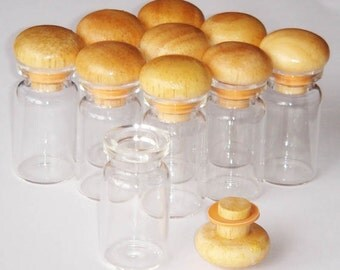 10 x 5ml Clear Glass Mini Bottles Vials with Wooden Cap Lid Miniature