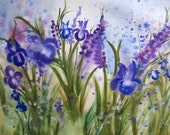 "Original handpainted watercolor ""Iris"" size 22x30"