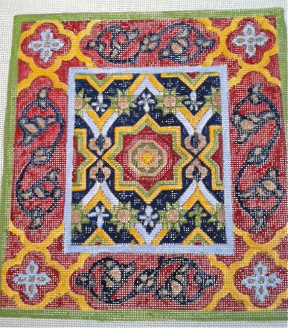 """Mosaic, Size 8""""x8""""  Needlepoint kit, 18pt mesh, handpainted and ready to stitch. Yarn included"""