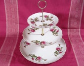 Vintage Three-tier Roses Serving Tray  - for Tidbits, Cupcakes, Candy, Treats