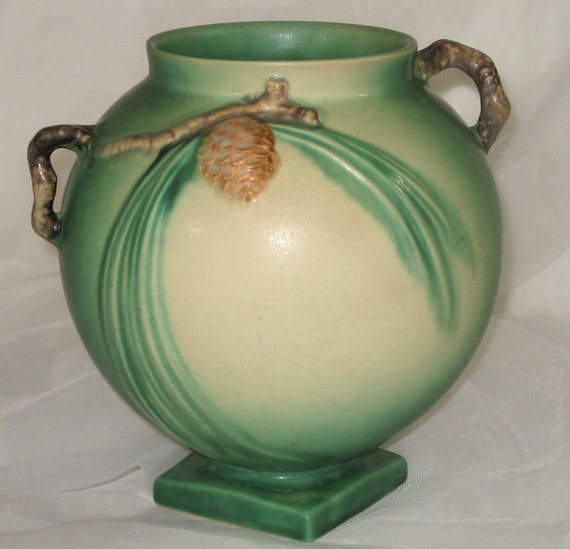 Roseville PINECONE Vase, 745-7 - Green - Vintage Roseville Pottery  Circa 1935 art pottery