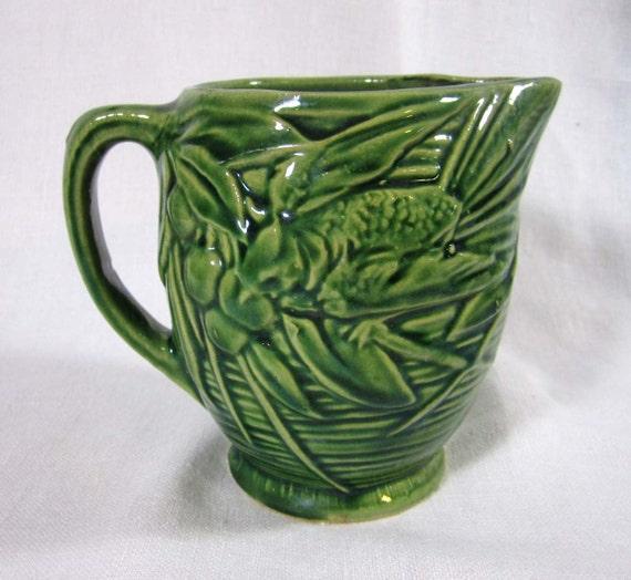 "Vintage mid-1930s McCoy Pottery Bird & Cherries Pitcher - green 5"" high"