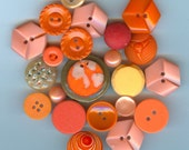 SALE - Vintage Orange Buttons - Spring is coming