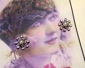 Vintage Silver Rhinestone and Pearl Floral Screwback Earrings