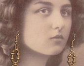 Handcrafted Gold Link Hook Earrings