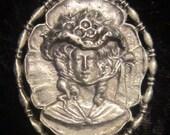 Vintage Antique Silver 1890s Woman Brooch
