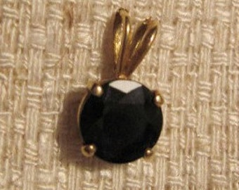 Vintage Black Rhinestone Pendant PLUS FREE Gold CHAIN (Not pictured)