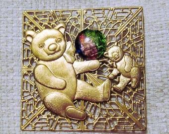 Vintage Square Teddy Bear Brooch - BR-106 - Gold Bear Brooch - Gold Teddy Bear
