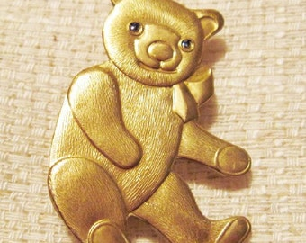 Vintage Gold Teddy Bear Brooch - BR-095 - Gold Bear Brooch - Gold Teddy Brooch