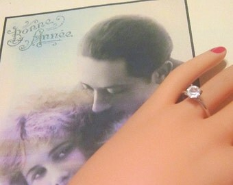 Vintage Silver Solitaire Ring - Size 8.5 - R-076